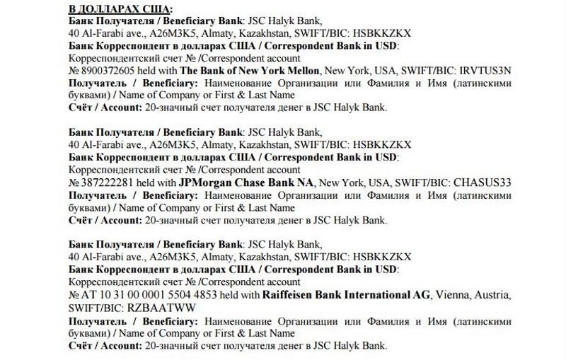 Реквизиты для переводов в долларах США